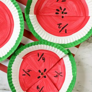 Watermelon Fractions Paper Plate