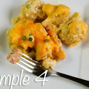 Ham and Cheese Cauliflower Casserole