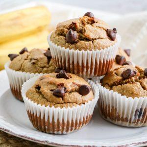 Sugar Free Flourless Peanut Butter Banana Muffins