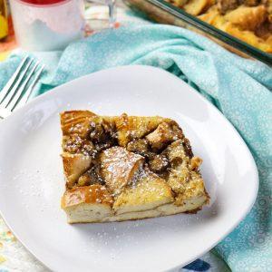 Overnight Banana Bread Bagel French Toast Casserole