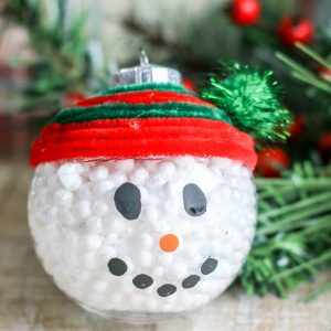 Clear Filled Snowman Ornament