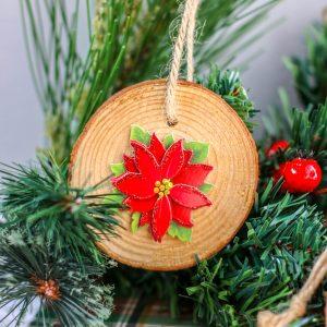 Wood Slice Poinsettia Ornament