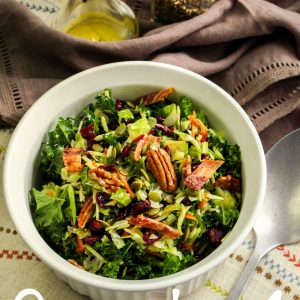 Kale Brussel Sprout and Cranberry Salad