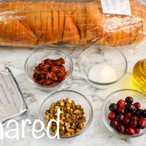 Bacon Pistachio and Cranberry Cream Cheese Crostini